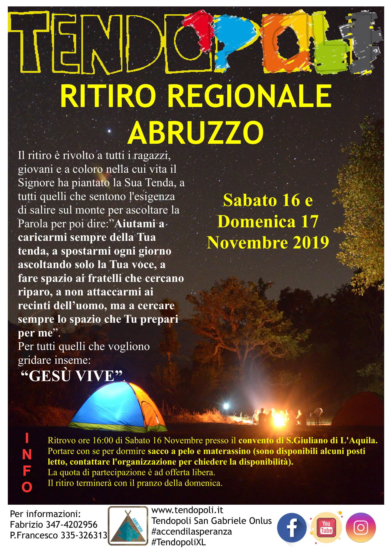 volantino ritiro regionale Abruzzo 2019